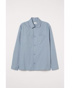 Hemdjacke aus Leinenmix Hellblau