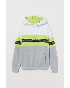 Capuchonsweater Met Print Lichtgrijs/neongroen