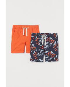 2er-Pack Baumwollshorts Orange/Haie