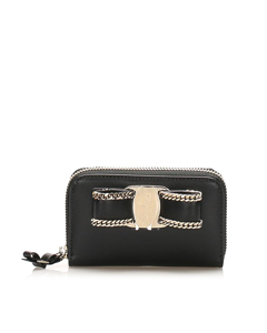 Ferragamo Vara Chain Leather Small Wallet Black