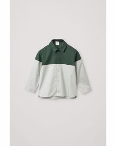 Colour-block Cotton Shirt Dark Green / Light Green
