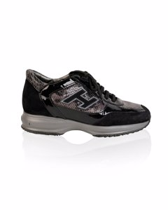 Hogan Black Suede Interactive H Flock Sneakers Shoes Size 37