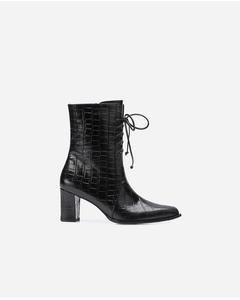 Tine Black Croco Leather