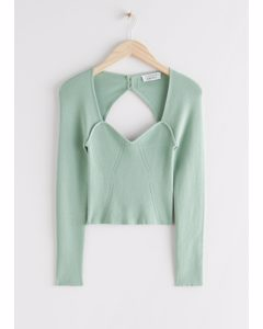 Fitted Cropped Sweetheart Neck Rib Top Light Green