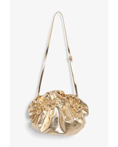 Paper Bag Clutch Gold Metallic