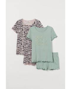 2-pack Pyjamas I Bomull Ljus Khakigrön/zebramönstrad