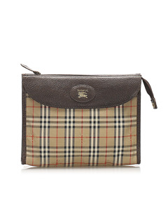 Burberry Haymarket Check Canvas Pouch Brown
