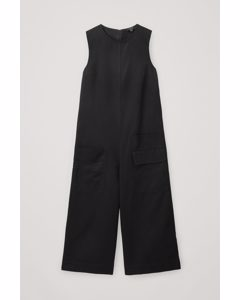 Wide-leg Organic Cotton-linen Jumpsuit Black