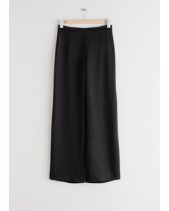 Relaxed Flared Trousers Black