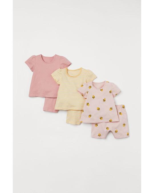 H&M 3-pack Jersey Pyjamas Light Pink/bees