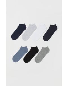 7 Paar Sneakersokken Grijs/blauw