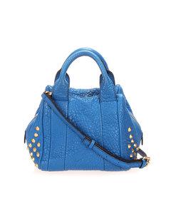 Mcm Studded Leather Satchel Blue