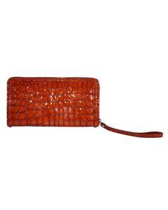 Croc Embossed Leather Zip Around Wallet