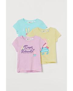 3er-Pack Shirts mit Druck Helllila/Peppa Wutz