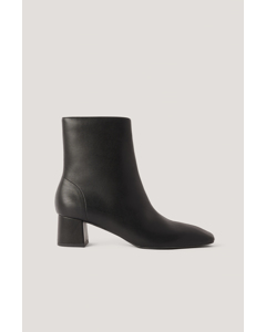 Squared Slanted Toe Low Boots Black