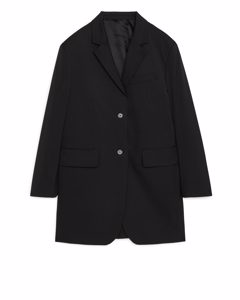 Wool Blend Blazer Coat Black