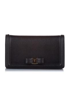 Ferragamo Vara Ginny Leather Crossbody Bag Black