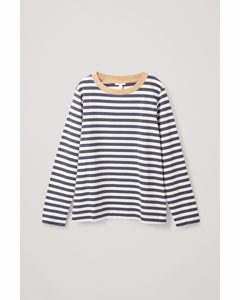 Wide Neck Long Sleeve T-shirt White / Navy