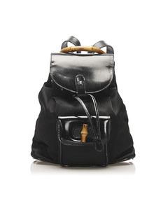 Gucci Bamboo Canvas Drawstring Backpack Black