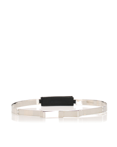 Miu Miu Ribbon Leather Belt Silver