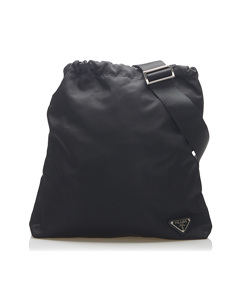 Prada Tessuto Drawstring Crossbody Bag Black