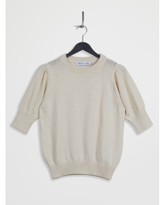 Puff Sleeve Cropped Sweater White