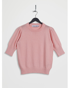 Puff Sleeve Cropped Sweater Pink
