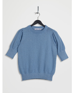 Puff Sleeve Cropped Sweater Blue