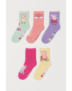 5 Paar Sokken Paars/peppa Big