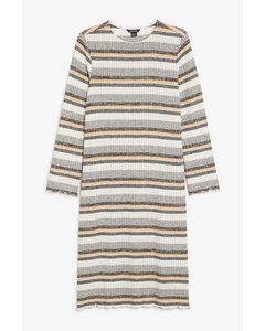 Ribbed Knit Midi Dress Grey And Orange Stripes