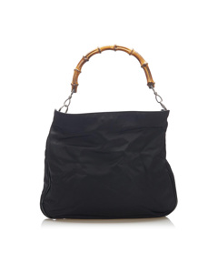 Gucci Bamboo Canvas Handbag Black