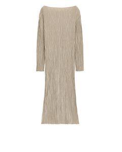 Crinkle-Kleid Beige