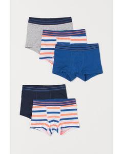 Set Van 5 Boxershorts Wit/oranje Gestreept