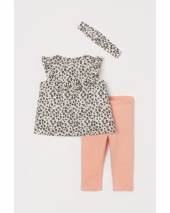 3-teiliges Set aus Baumwolle Hellbeige/Leopardenmuster