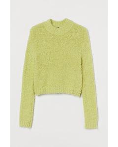 Bouclé-Pullover Neongrün