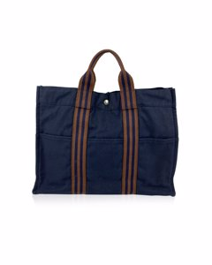 Hermes Paris Vintage Blue Cotton Canvas Fourre Tout Mm Tote