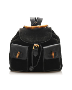 Gucci Bamboo Suede Drawstring Backpack Black