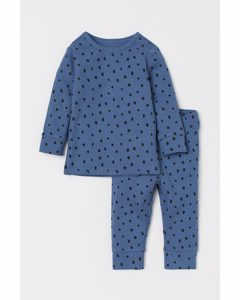 2er-Pack Geripptes Baumwollset Blau/Gemustert