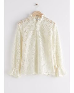 Relaxed Scalloped Ruffle Lace Blouse Creme