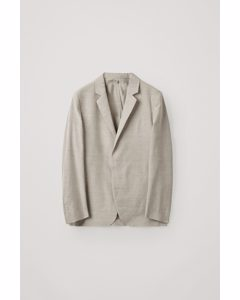 Linen-wool Mix Single-breasted Blazer Beige