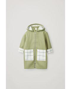 Cotton Contrast Detail Raincoat Light Khaki / Check