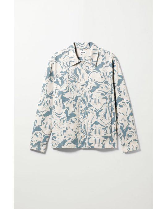 Weekday Roland Warp Overshirt White & Blue