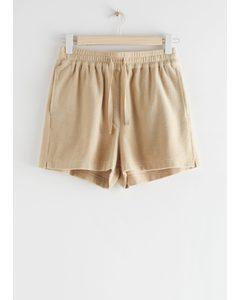 Drawstring Velour Shorts Beige