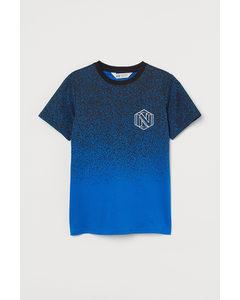 T-Shirt mit Druck Knallblau/Farbspritzer