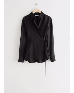 Fitted Asymmetric Wrap Blouse Black