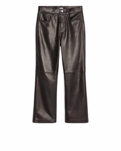 Kick-flare Leather Trousers Black