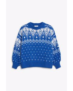 Chunky knit sweater White and blue
