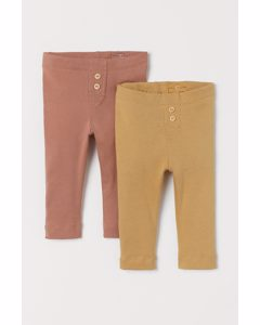 2-pack Leggings Dark Beige-pink