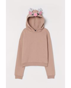Capuchonsweater Met Print Beige/rendier