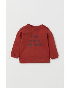 Sweatshirt I Bomull Roströd/i Take Care